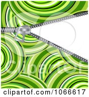 Clipart Green Circle Pattern And Revealing Zipper Royalty Free Vector Illustration