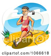 Clipart Happy Woman Running On A Path Royalty Free Vector Illustration