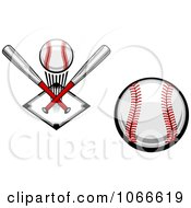 Clipart Baseball Icons Royalty Free Vector Illustration
