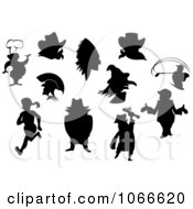 Clipart Silhouetted People Collage Royalty Free Vector Illustration