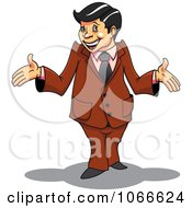 Clipart Surprised Businessman In A Brown Suit Royalty Free Vector Illustration