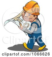 Clipart Mechanic Carrying A Manual Royalty Free Vector Illustration by Vector Tradition SM