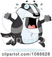 Clipart Pudgy Badger Running Scared Royalty Free Vector Illustration by Cory Thoman