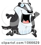Clipart Pudgy Badger Running Royalty Free Vector Illustration by Cory Thoman