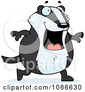 Clipart Pudgy Badger Walking Royalty Free Vector Illustration by Cory Thoman