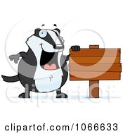 Clipart Pudgy Badger With A Wooden Sign Royalty Free Vector Illustration by Cory Thoman
