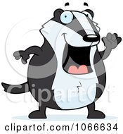 Clipart Pudgy Badger Waving Royalty Free Vector Illustration by Cory Thoman
