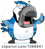 Clipart Pudgy Blue Jay Waving Royalty Free Vector Illustration