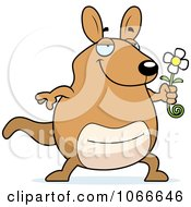 Clipart Pudgy Kangaroo Holding A Flower Royalty Free Vector Illustration