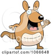 Clipart Pudgy Kangaroo Waving Royalty Free Vector Illustration