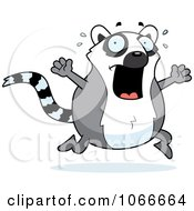 Clipart Pudgy Lemur Running Scared Royalty Free Vector Illustration