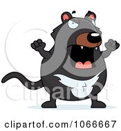 Clipart Pudgy Mad Tazmanian Devil Royalty Free Vector Illustration by Cory Thoman