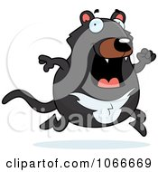 Clipart Pudgy Tazmanian Devil Running Royalty Free Vector Illustration by Cory Thoman
