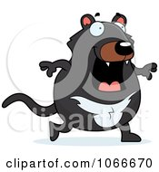 Clipart Pudgy Tazmanian Devil Walking Royalty Free Vector Illustration by Cory Thoman