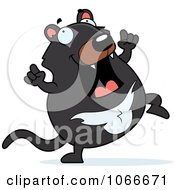 Clipart Pudgy Tazmanian Devil Dancing Royalty Free Vector Illustration by Cory Thoman