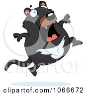 Clipart Pudgy Tazmanian Devil Jumping Royalty Free Vector Illustration by Cory Thoman