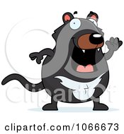 Clipart Pudgy Tazmanian Devil Waving Royalty Free Vector Illustration by Cory Thoman