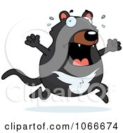 Clipart Pudgy Tazmanian Devil Running Scared Royalty Free Vector Illustration by Cory Thoman