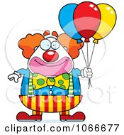 Clipart Pudgy Circus Clown With Party Balloons Royalty Free Vector Illustration by Cory Thoman