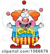 Clipart Pudgy Circus Clown Juggling Royalty Free Vector Illustration