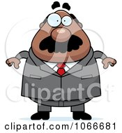 Clipart Pudgy Black Businessman Royalty Free Vector Illustration by Cory Thoman