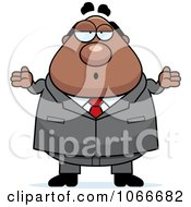 Clipart Pudgy Black Businessman Shrugging Royalty Free Vector Illustration by Cory Thoman