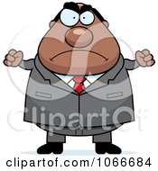 Clipart Pudgy Mad Black Businessman Royalty Free Vector Illustration by Cory Thoman