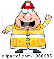 Clipart Pudgy Fireman With An Idea Royalty Free Vector Illustration