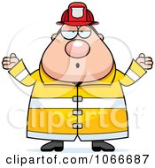 Clipart Pudgy Fireman Shrugging Royalty Free Vector Illustration