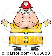 Clipart Pudgy Mad Fireman Royalty Free Vector Illustration