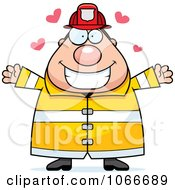Clipart Pudgy Fireman With Open Arms Royalty Free Vector Illustration