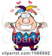 Clipart Pudgy Jester With Open Arms Royalty Free Vector Illustration