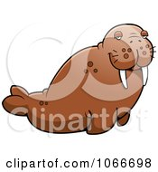 Clipart Pudgy Walrus Royalty Free Vector Illustration by Cory Thoman