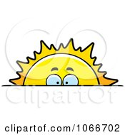Clipart Sun Rising And Looking Over The Horizon Royalty Free Vector Illustration