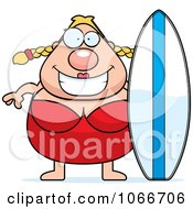 Clipart Pudgy Female Surfer Royalty Free Vector Illustration