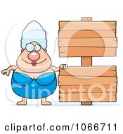 Clipart Pudgy Granny Swimmer With A Sign Royalty Free Vector Illustration