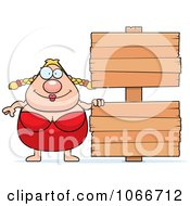 Clipart Pudgy Female Swimmer With A Sign Royalty Free Vector Illustration