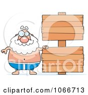 Clipart Pudgy Grandpa Swimmer With A Sign Royalty Free Vector Illustration