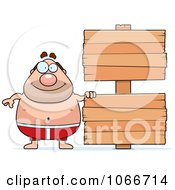 Clipart Pudgy Male Swimmer With A Sign Royalty Free Vector Illustration