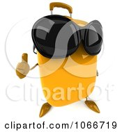 Clipart 3d Thumbs Up Yellow Suitcase Wearing Shades 2 Royalty Free CGI Illustration