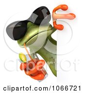 Clipart 3d Springer Frog With A Beverage And Blank Sign Royalty Free CGI Illustration