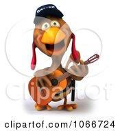 Clipart 3d Police Chicken Guitarist 3 Royalty Free CGI Illustration