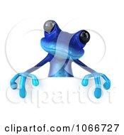 3d Blue Springer Frog With A Blank Sign 7