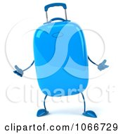 Clipart 3d Blue Rolling Suitcase Gesturing 2 Royalty Free CGI Illustration