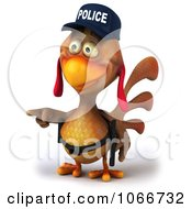 Clipart 3d Police Chicken Giving Directions Royalty Free CGI Illustration