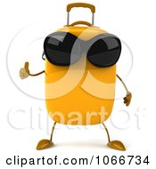 Clipart 3d Thumbs Up Yellow Suitcase Wearing Shades 1 Royalty Free CGI Illustration
