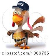 Clipart 3d Police Chicken Walking Royalty Free CGI Illustration