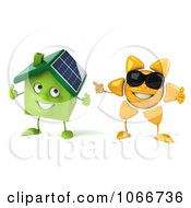 Clipart 3d Sun Guy With A Solar House 4 Royalty Free CGI Illustration
