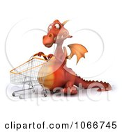 Clipart 3d Red Dragon Shopping 2 Royalty Free CGI Illustration