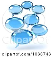 Clipart 3d Blue Social Networking Chat Balloons 2 Royalty Free CGI Illustration